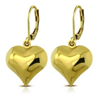 Visiace náušnice srdce zlatá mv3347 chirurgická oceľ 3cm empty 6f33b22fa57
