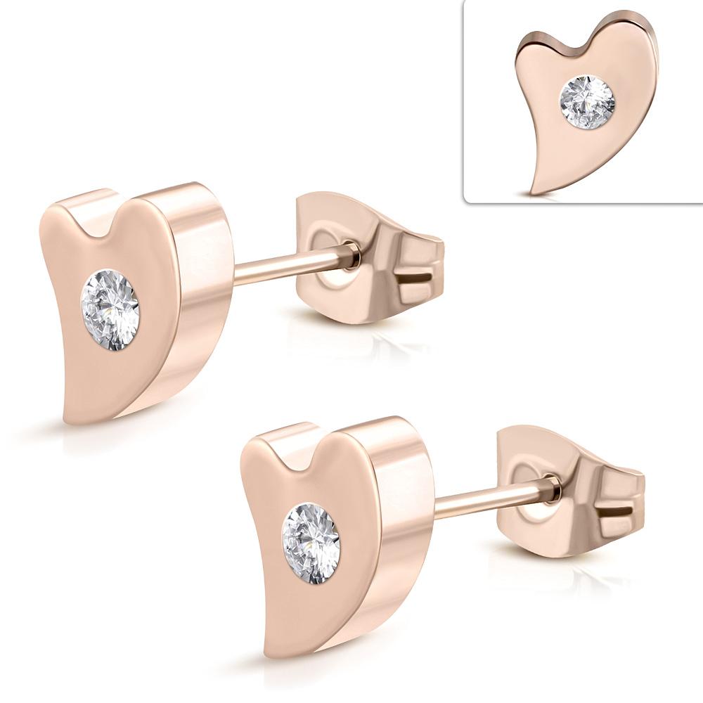 89613bce3 NOVINKY V PONUKE | Náušnice srdce kamienok ružová zlatá mv3344 ...